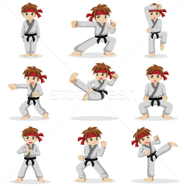 Different poses of karate kid Stock photo © artisticco