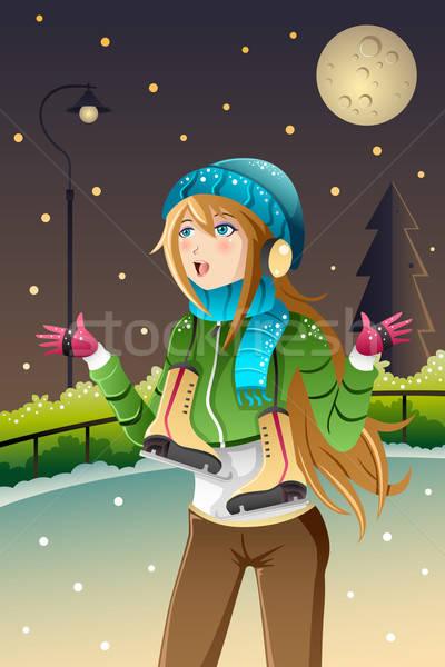 Girl playing ice skating Stock photo © artisticco