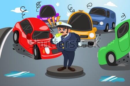Cop manette auto giustizia giovani disegno Foto d'archivio © artisticco