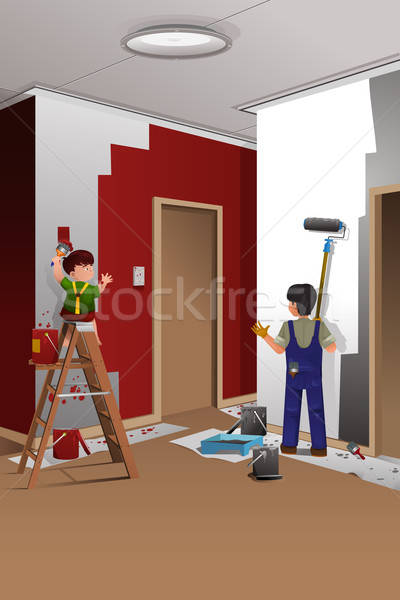 Father son painting a wall  Stock photo © artisticco