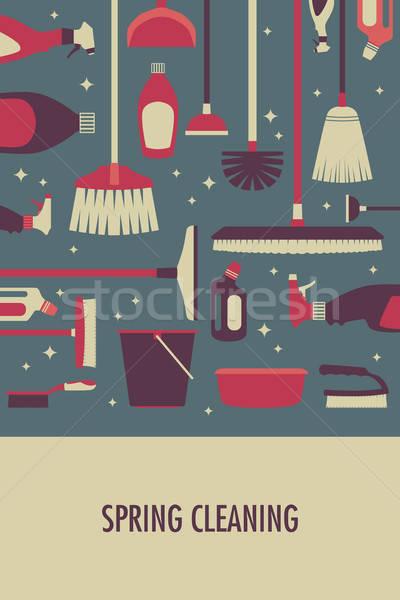 Poster pulizie di primavera pulizia pennello disegno ginestra Foto d'archivio © artisticco