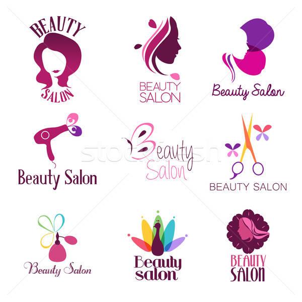 Szépségszalon logo bélyeg rajz rajz címke Stock fotó © artisticco