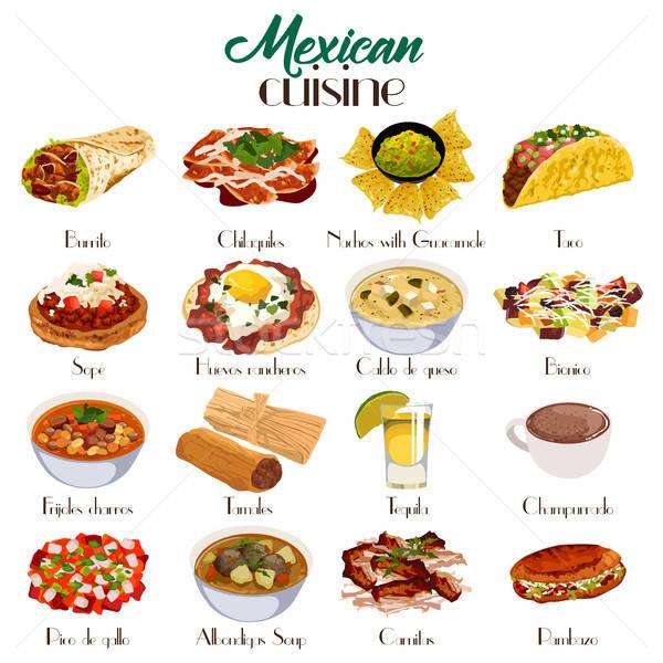 Cuisine mexicaine icônes icône dessin modernes Mexique Photo stock © artisticco