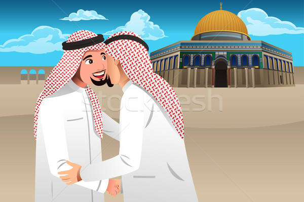 Two Muslim Men Embracing Each Other Stock photo © artisticco