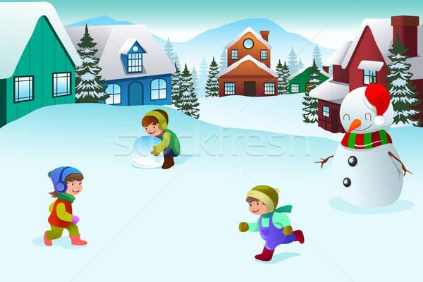 Copiii · se · joacă · iarnă · tara · minunilor · fericit · împreună · copii - ilustratie vectoriala © Artisticco LLC (artisticco) (#3578396) | Stockfresh