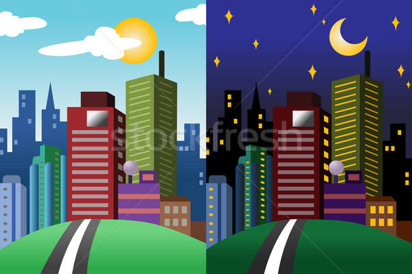 Day and night view of a modern city Stock photo © artisticco