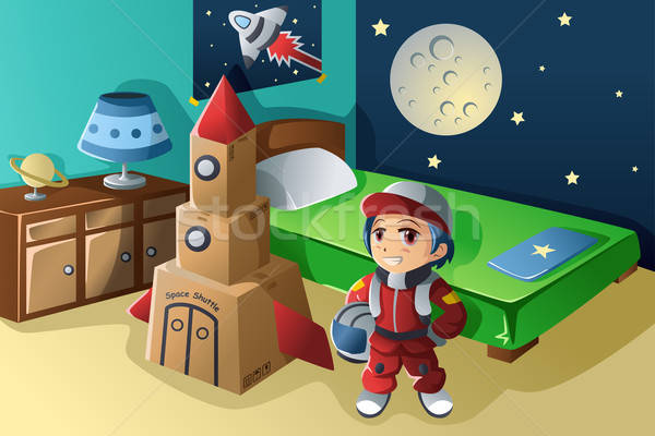 Kid dressed in astronaut costume  Stock photo © artisticco