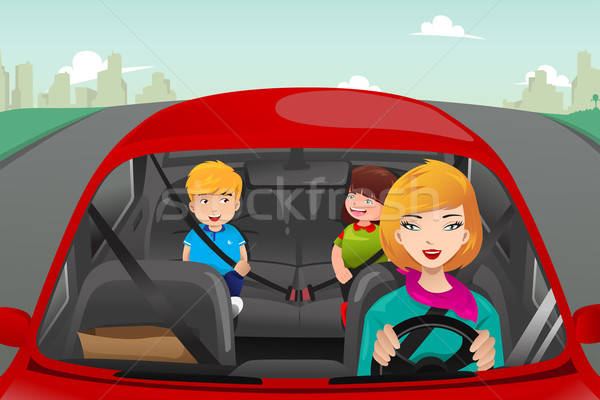 Mother driving with her children  Stock photo © artisticco