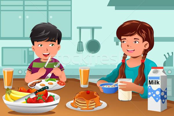 Ragazzi mangiare sano colazione felice home alimentare Foto d'archivio © artisticco