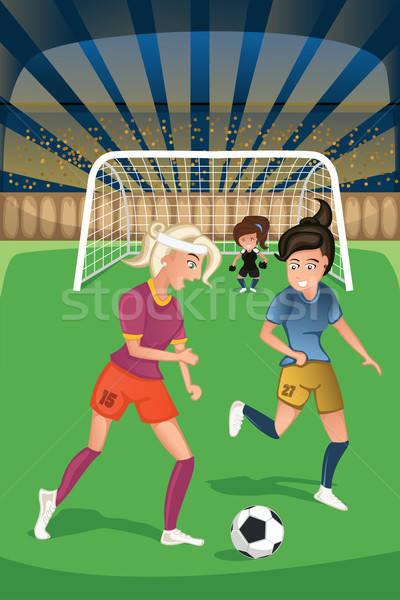 Vrouwen spelen voetbal wedstrijd meisje voetbal Stockfoto © artisticco