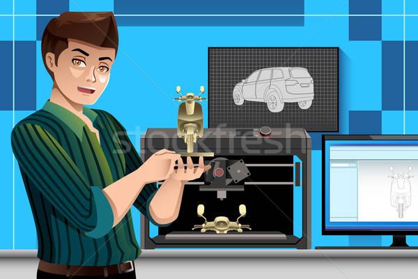 Man 3D printer mannelijke architect kantoor Stockfoto © artisticco