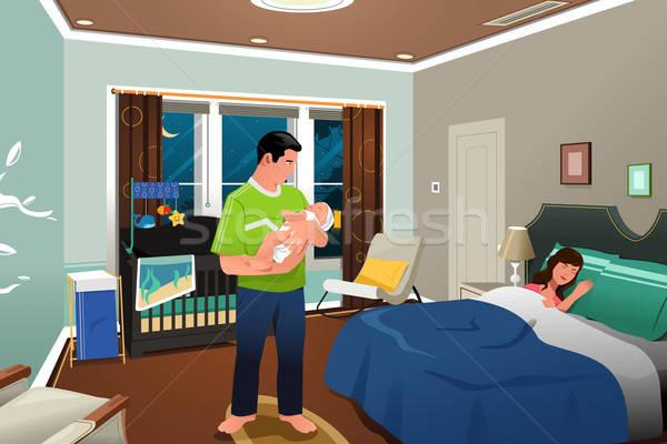 Father Caring Newborn Child Stock photo © artisticco