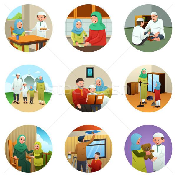 Musulmans famille différent activités enfants garçon Photo stock © artisticco