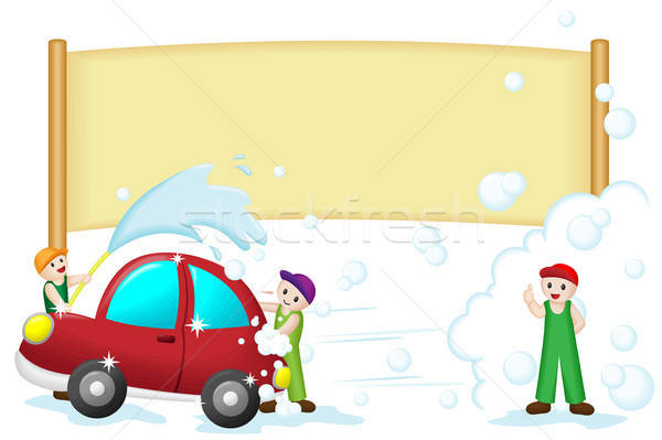 Foto d'archivio: Car · wash · banner · auto · cartoon · sapone · spray