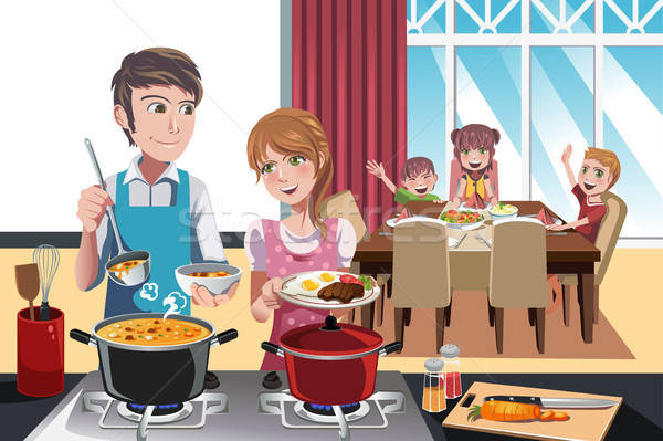 Family dinner Stock photo © artisticco