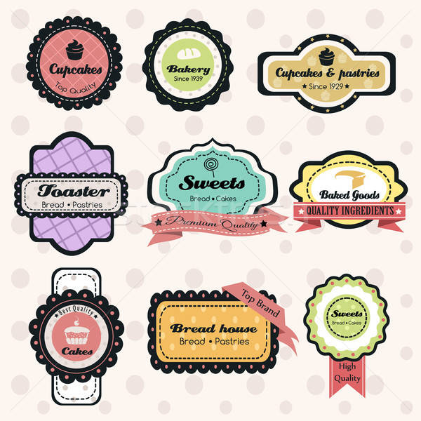 Vintage хлебобулочные Этикетки Label кадр торт Сток-фото © artisticco