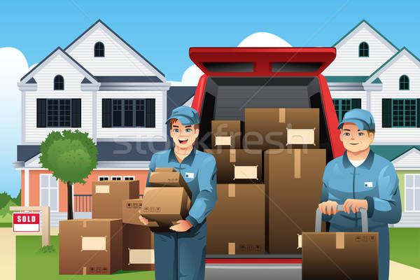 Movers carrying boxes Stock photo © artisticco