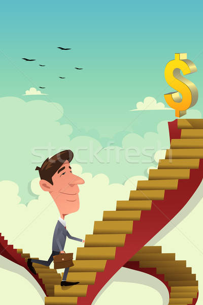 Businessman Going Up on a Career Ladder Stock photo © artisticco