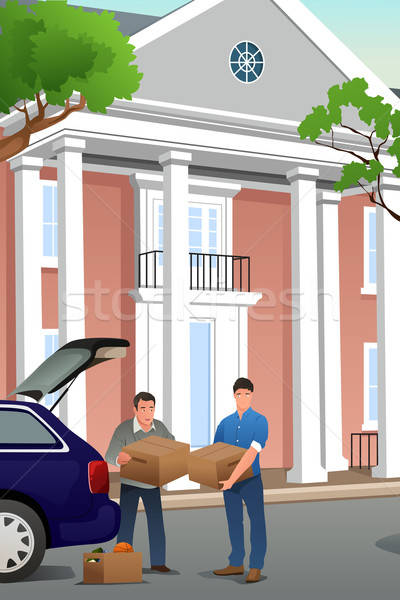 Father Helping His Teenage Son Moving to a New Campus Stock photo © artisticco