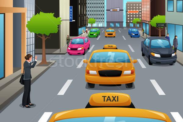 üzletasszony vár taxi város lány női Stock fotó © artisticco