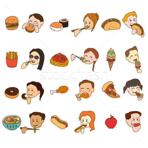 Icon Set of People Eating and Food Stock photo © artisticco