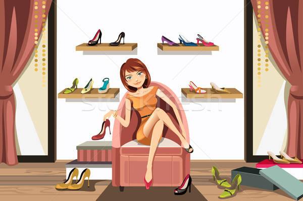 Mulher compras sapatos armazenar menina moda Foto stock © artisticco
