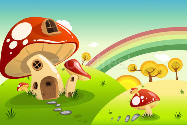Champignons maisons Fantasy maison maison Rainbow Photo stock © artisticco