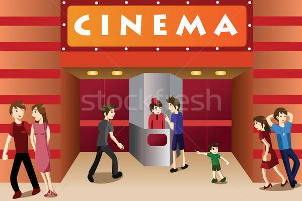 Young people hanging out outside a movie theater Stock photo © artisticco