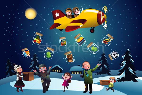 Schenking christmas gelukkig kinderen kinderen vliegtuig Stockfoto © artisticco