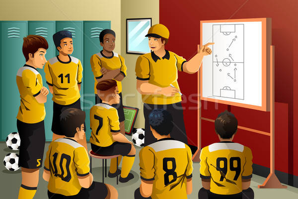 Soccer players in locker room  Stock photo © artisticco