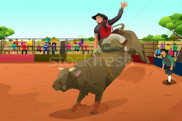 Rodeo rider in an arena Stock photo © artisticco