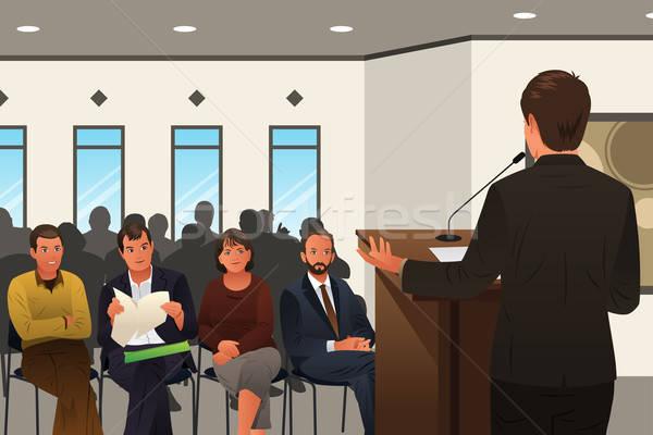 бизнесмен подиум конференции семинара женщину Сток-фото © artisticco