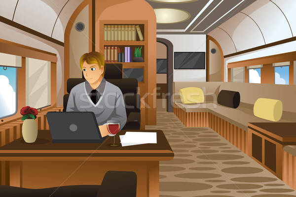 Businessman Traveling in a Luxurious Private Jet Stock photo © artisticco