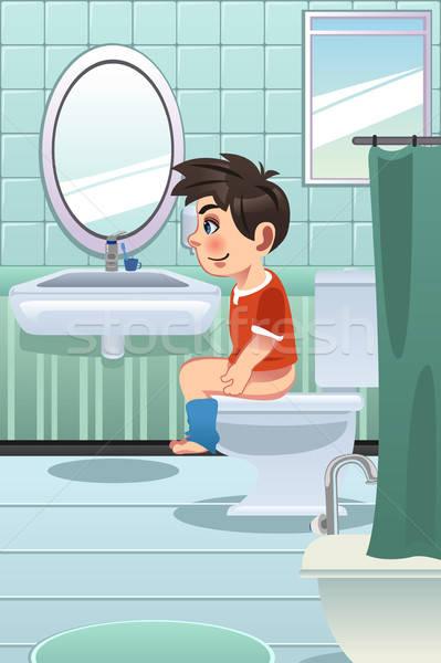 Jongen vergadering toilet badkamer kind kid Stockfoto © artisticco