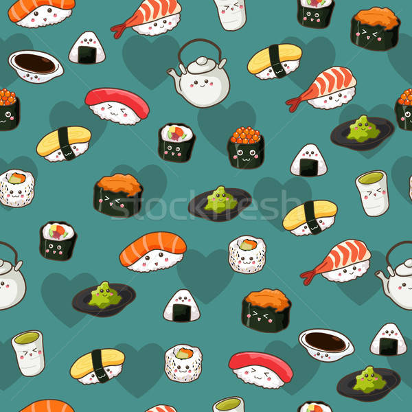 Seamless Sushi Pattern Wallpaper Background Stock photo © artisticco