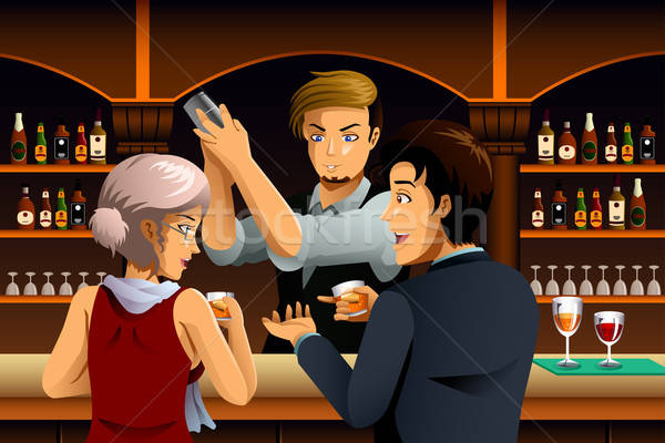 Couple in a Bar with Bartender Stock photo © artisticco