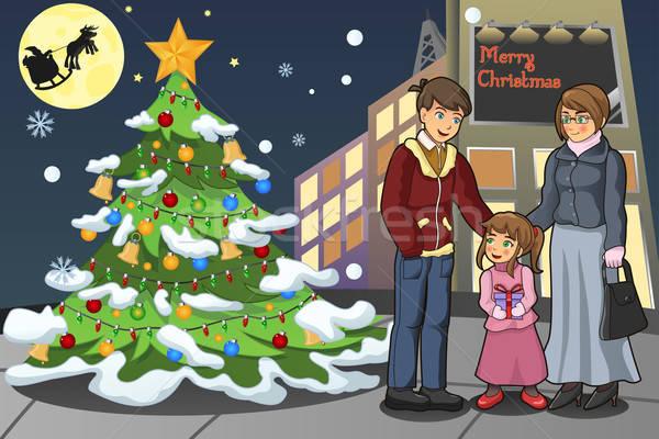Család ünnepel karácsony férfi város gyermek Stock fotó © artisticco