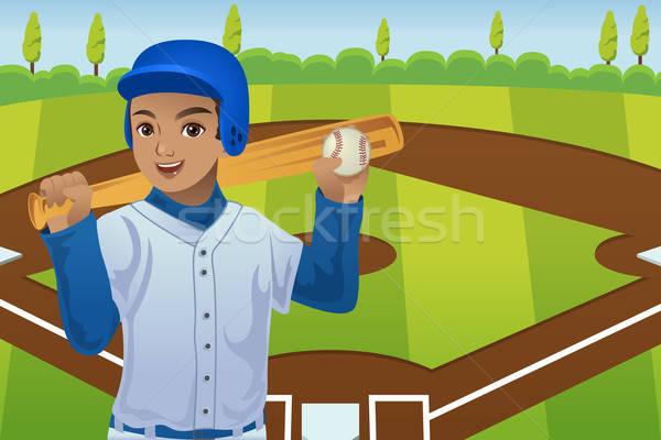 Baseball játékos baseball játékosok áll baseball pálya boldog Stock fotó © artisticco