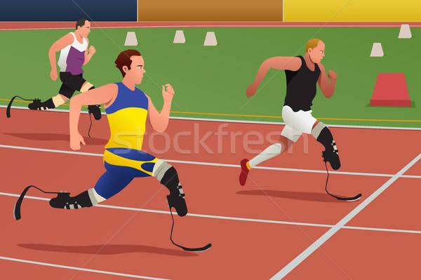 無効になって アスリート を実行して 競争 男 フィットネス ストックフォト © artisticco