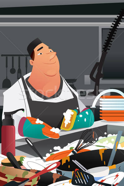 Dishwasher Working in a Commercial Kitchen Illustration Stock photo © artisticco