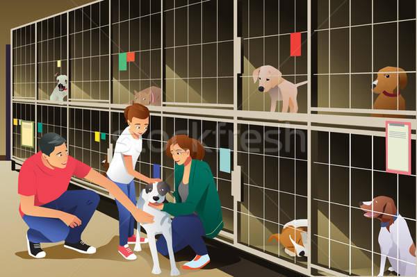 Aile köpek hayvan barınak çocuk karikatür Stok fotoğraf © artisticco