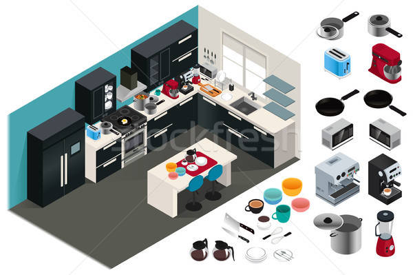 Isometric Kitchen Appliances Illustration Stock photo © artisticco