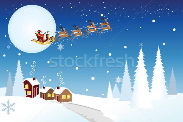 Mikulás lovaglás szánkó mikulás tél éjszaka Stock fotó © artisticco