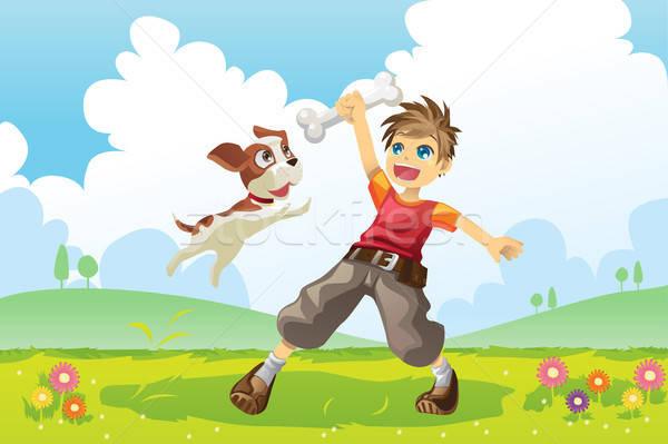 Boy and dog Stock photo © artisticco