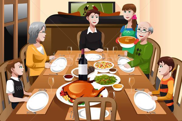 Family having a Thanksgiving dinner Stock photo © artisticco