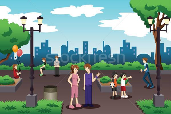 Ludzi miasta parku codzienny dzieci sportu Zdjęcia stock © artisticco