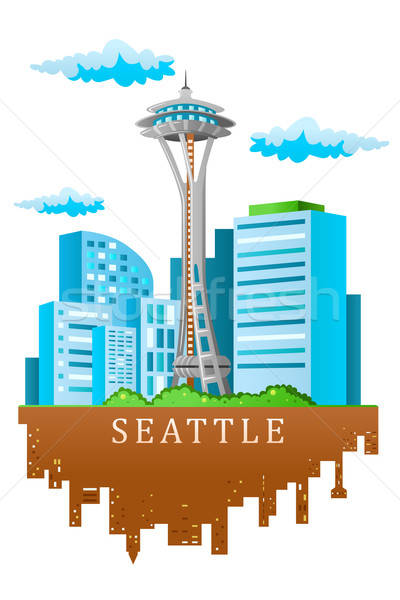 Seattle Skyline cartoon style ville urbaine Photo stock © artisticco