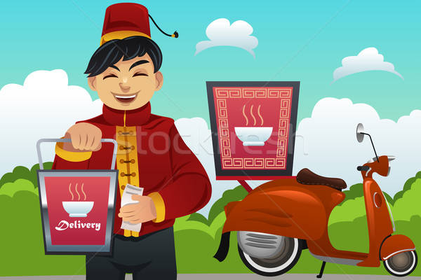 Man Delivering Chinese Food Stock photo © artisticco