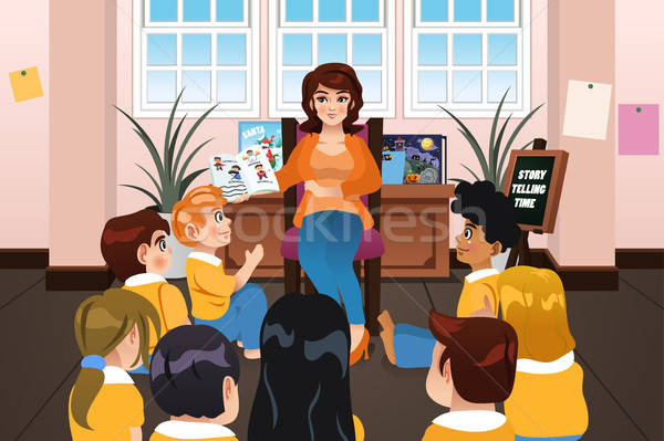 Preschool Teacher Reading a Book During Story Time Stock photo © artisticco