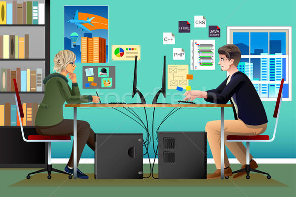 Programmer and Designer Working in an Office Stock photo © artisticco